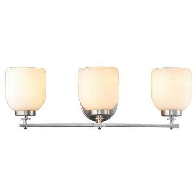 3-Light Brushed Nickel Sconce with White Frosted Glass Shade