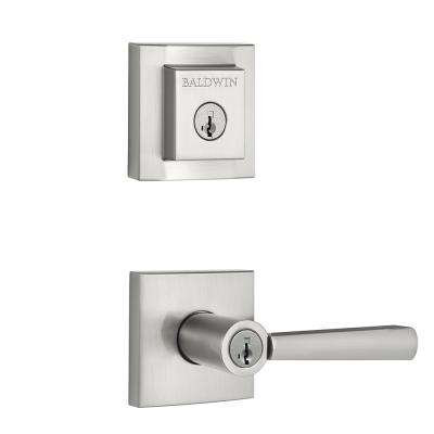 Prestige Spyglass Satin Nickel Exterior Entry Lever and Single Cylinder Deadbolt Combo Pack featuring Smartkey