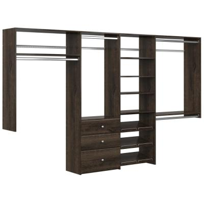 Dual Tower 96 in. W - 120 in. W Espresso Wood Closet System