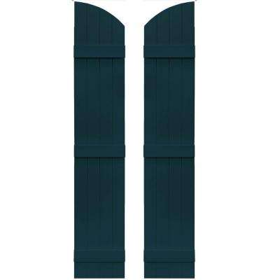 14 in. x 73 in. Board-N-Batten Shutters Pair, 4 Boards Joined with Arch Top #166 Midnight Blue