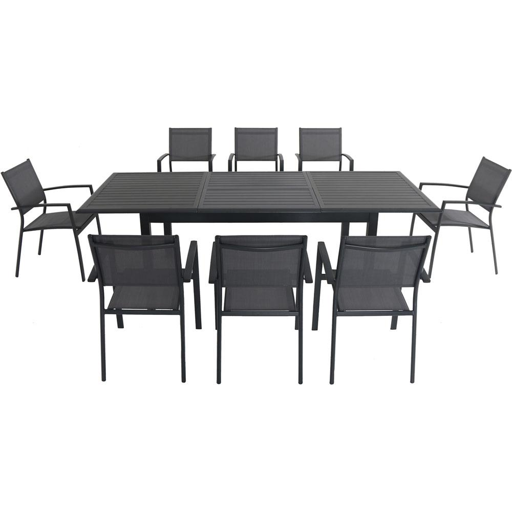 9 Piece Solid Wood Dining Set With Table And 8 Chairs: Hanover Cameron 9-Piece Aluminum Outdoor Dining Set With 8