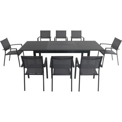 Cameron 9-Piece Aluminum Outdoor Dining Set with 8 Sling Dining Chairs and an Expandable Table