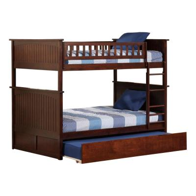 Nantucket Bunk Bed Full over Full with Full Size Urban Trundle Bed in Walnut