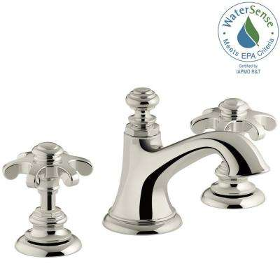 Artifacts 8 in. Widespread 2-Handle Bell Design Bathroom Faucet in Vibrant Polished Nickel with Prong Handles