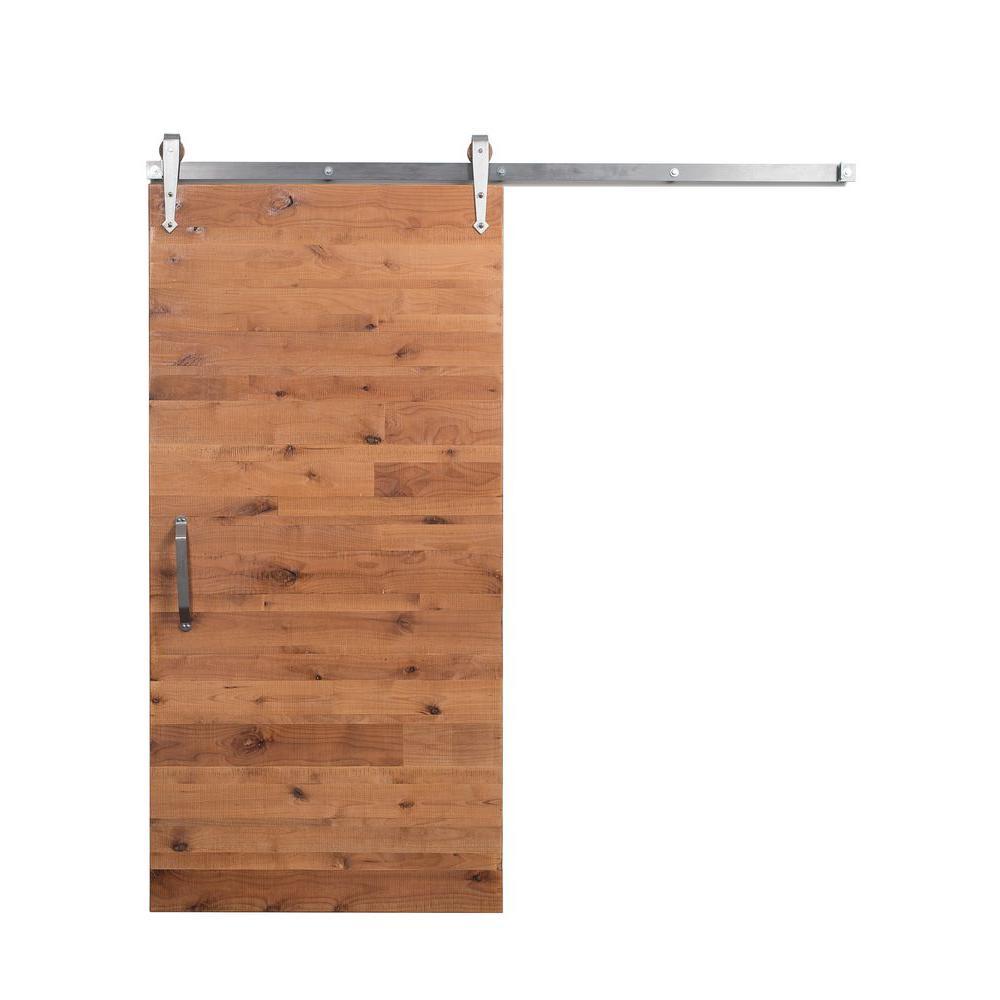 42 in. x 84 in. Reclaimed Clear Wood Barn Door with Arrow Sliding Door Hardware Kit