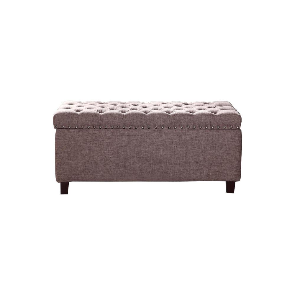 Button Tufted Brown Storage Ottoman