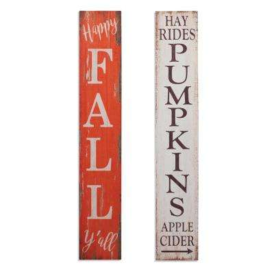 47.25 in. H Wooden Harvest Porch Signs (Set of 2)