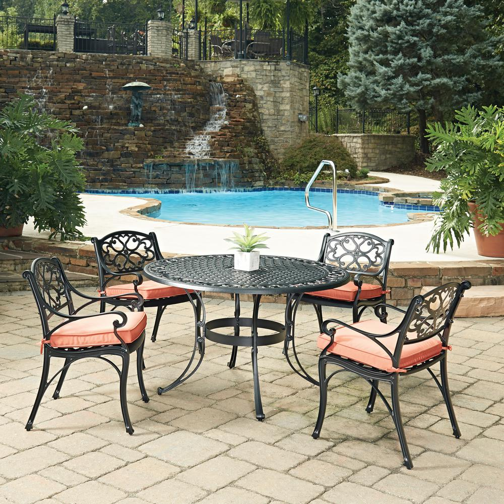 Cast Aluminum Patio Furniture Heart Pattern: Home Styles Biscayne Black 5-Piece Cast Aluminum Outdoor
