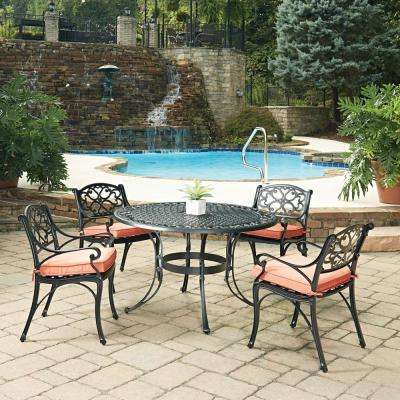 Biscayne Black 5-Piece Cast Aluminum Outdoor Dining Set with Coral Cushions
