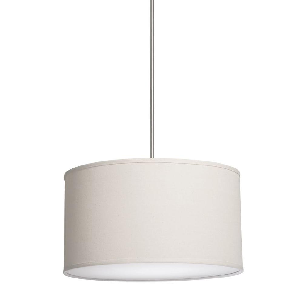 3-Light White Chandelier with White Linen Shade