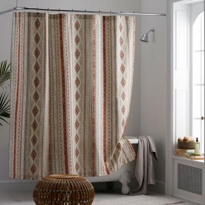 Ithaca 72 in. Multi Cotton Percale Shower Curtain