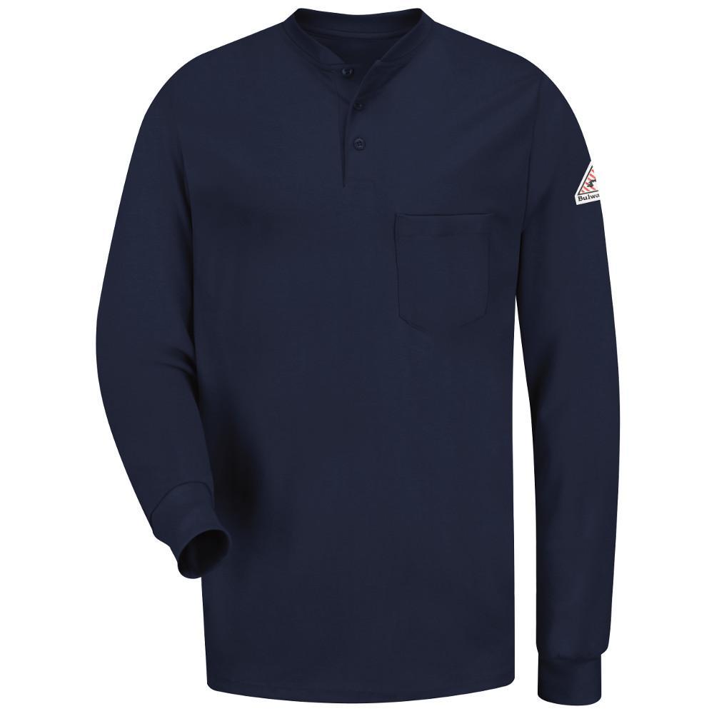 EXCEL FR Men's Medium Navy Long Sleeve Tagless Henley Shirt