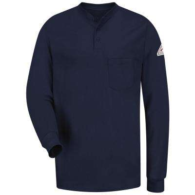 EXCEL FR Men's X-Large Navy Long Sleeve Tagless Henley Shirt