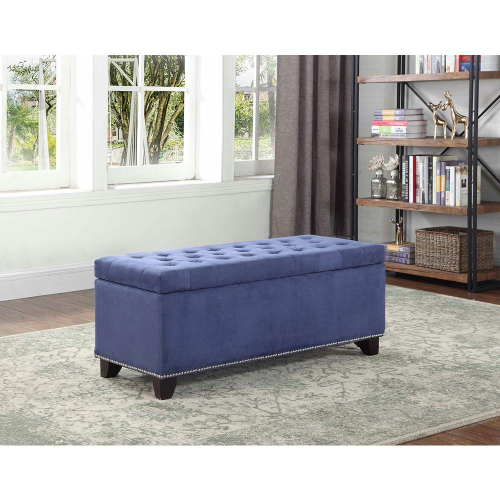 Tufted Blue Suede Storage Bench