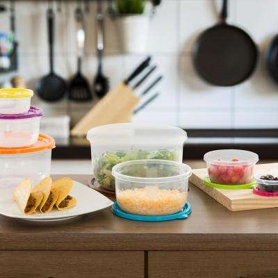 Round Food Storage Set with Colored Lids (14-Piece)
