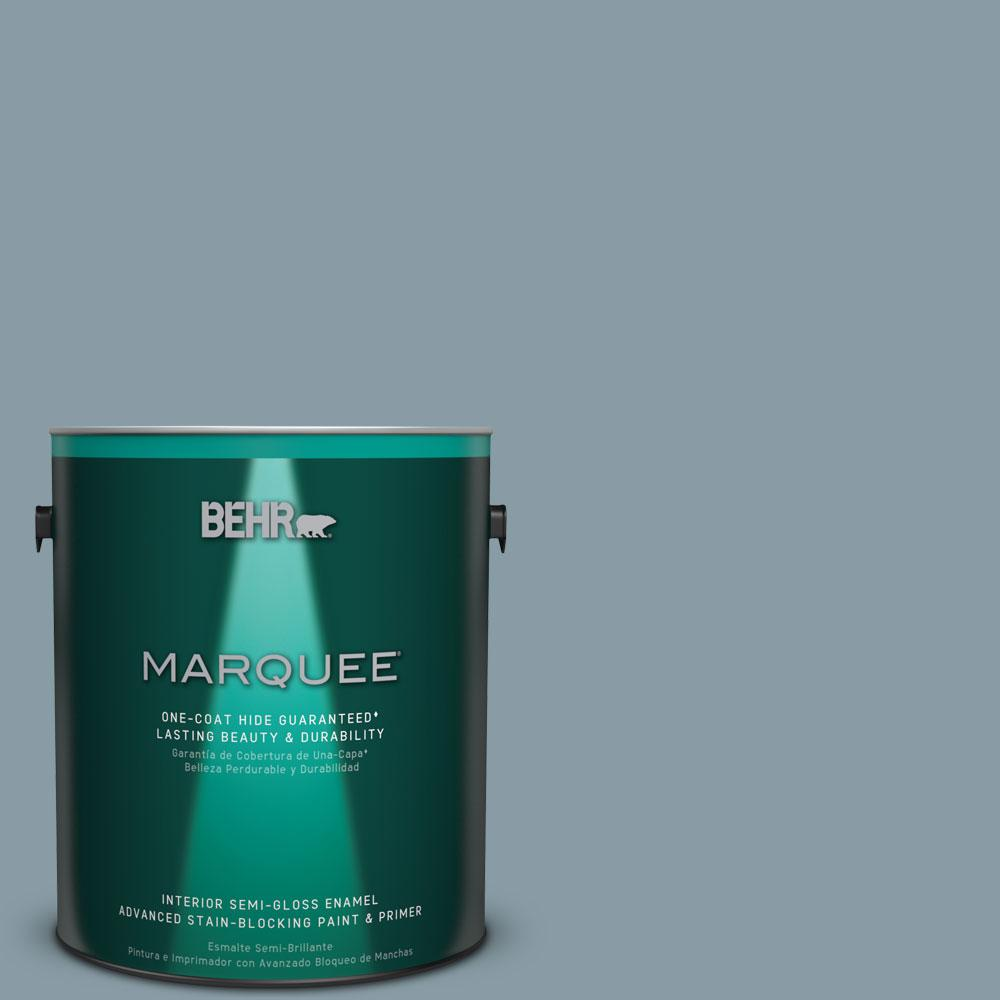 BEHR MARQUEE 1 gal. #MQ5-27 Rainy Season One-Coat Hide Semi-Gloss Enamel Interior Paint