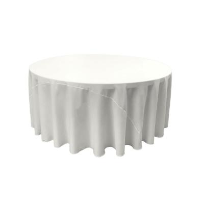 120 in. White Polyester Poplin Round Tablecloth