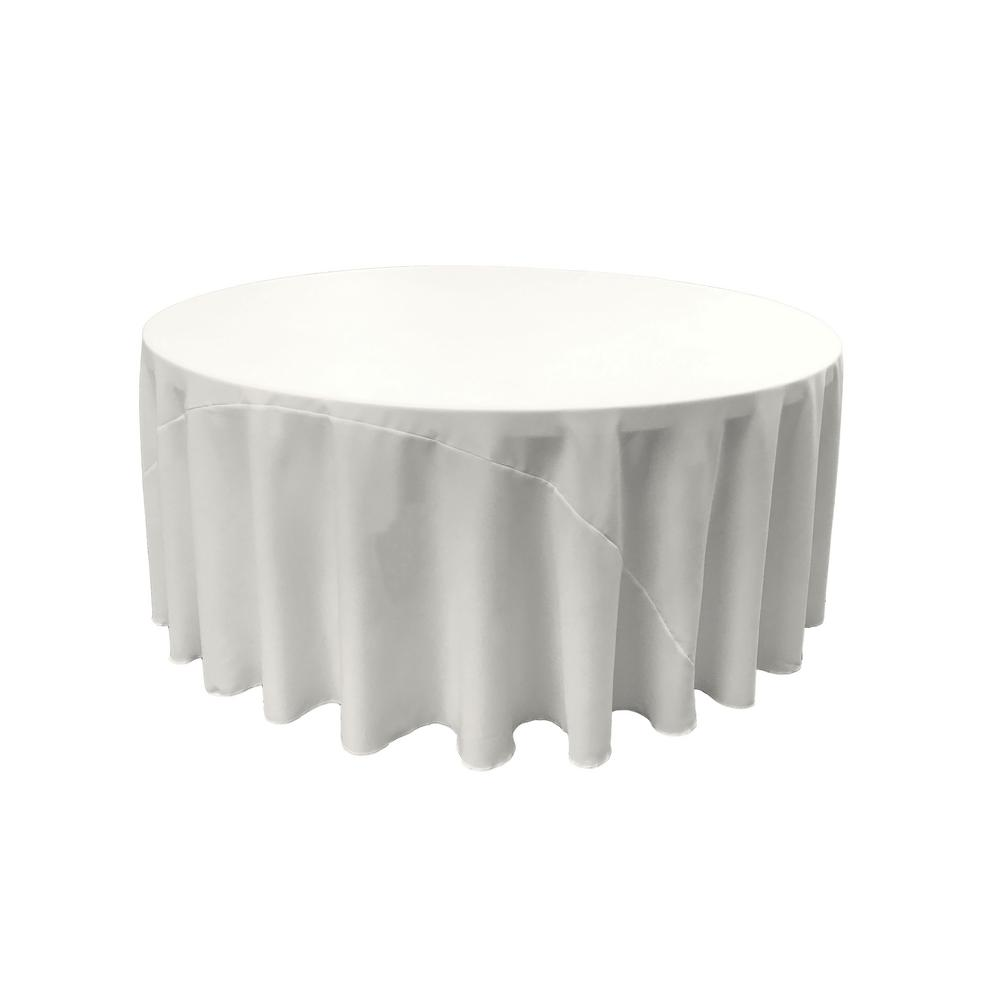 L.A. Linen 132 in. Round White Polyester Poplin Tableclot...