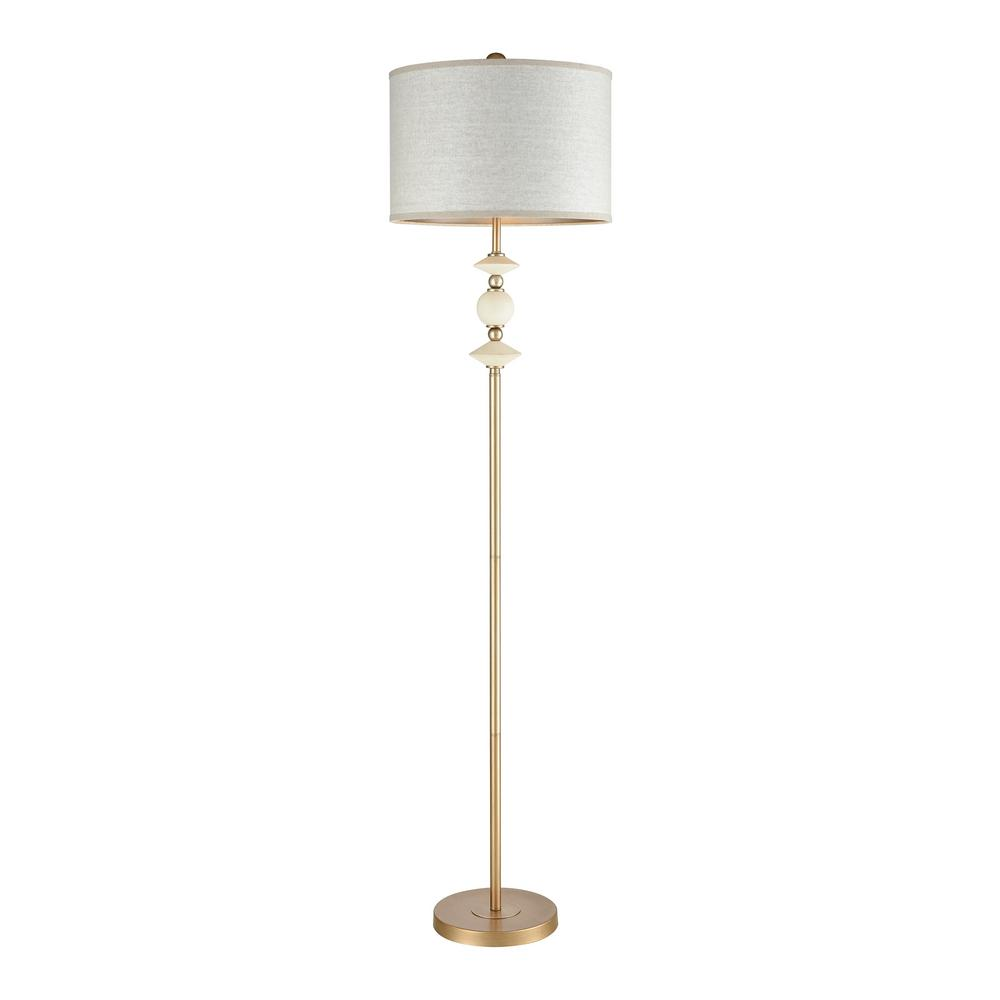 Titan Lighting Briar Rose 68 In H Antique Gold And White Ceramic