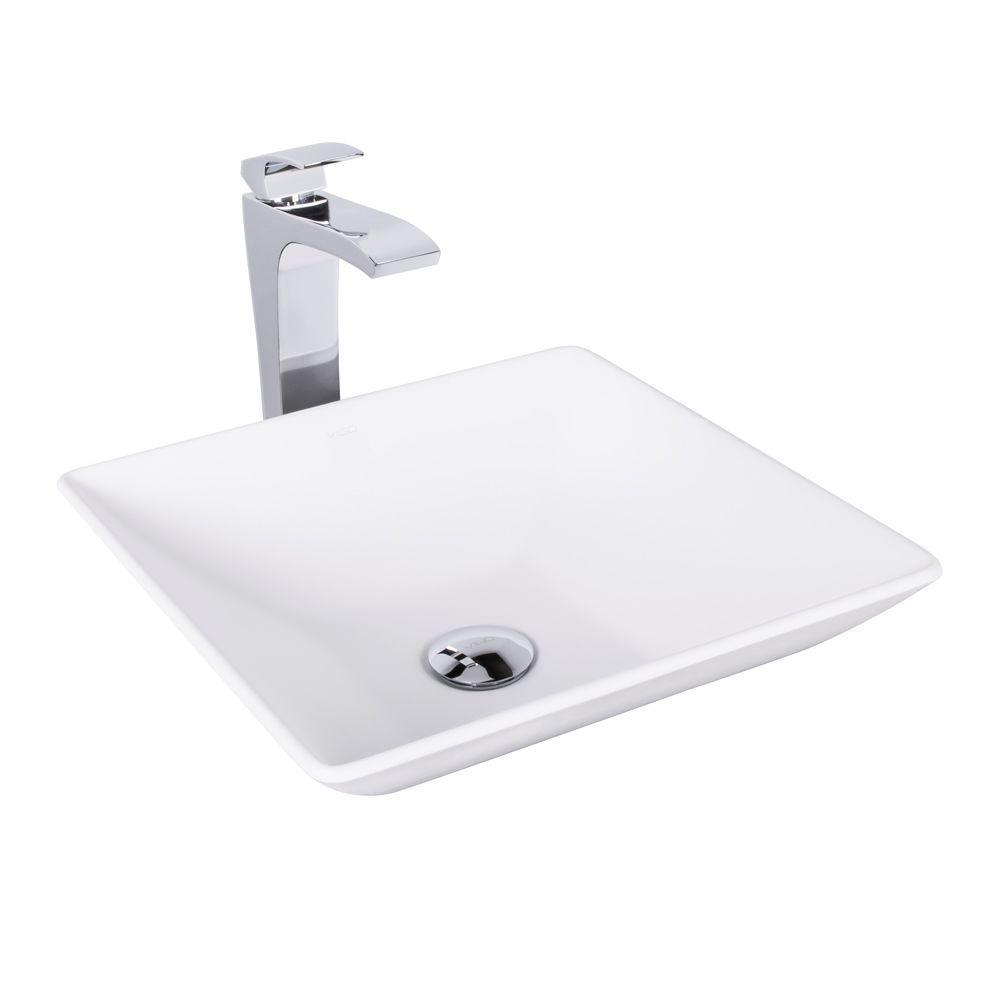 VIGO Hibiscus Matte Stone Vessel Sink and Blackstonian Bathroom ...