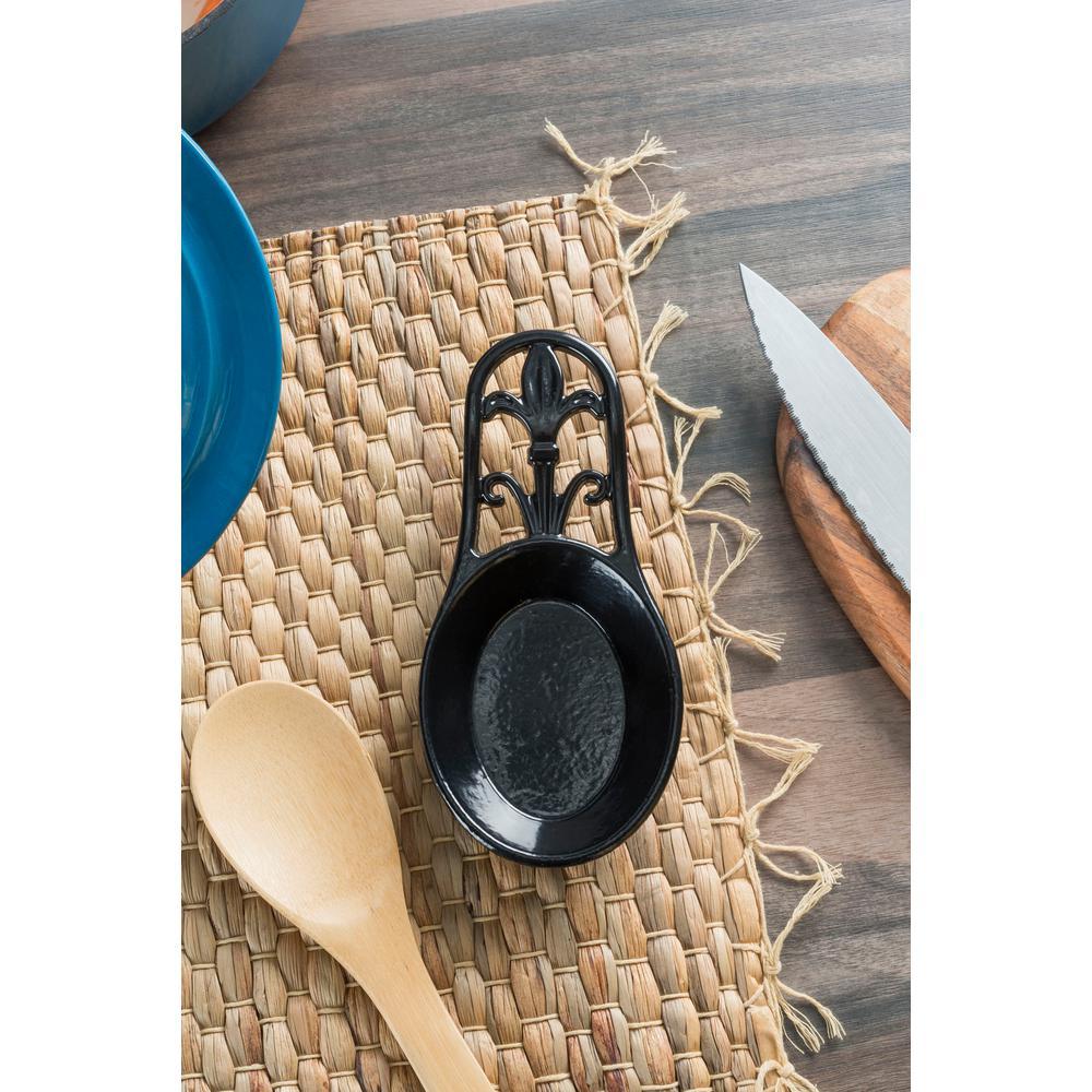 Cast Iron Black Fleur De Lis Spoon Rest