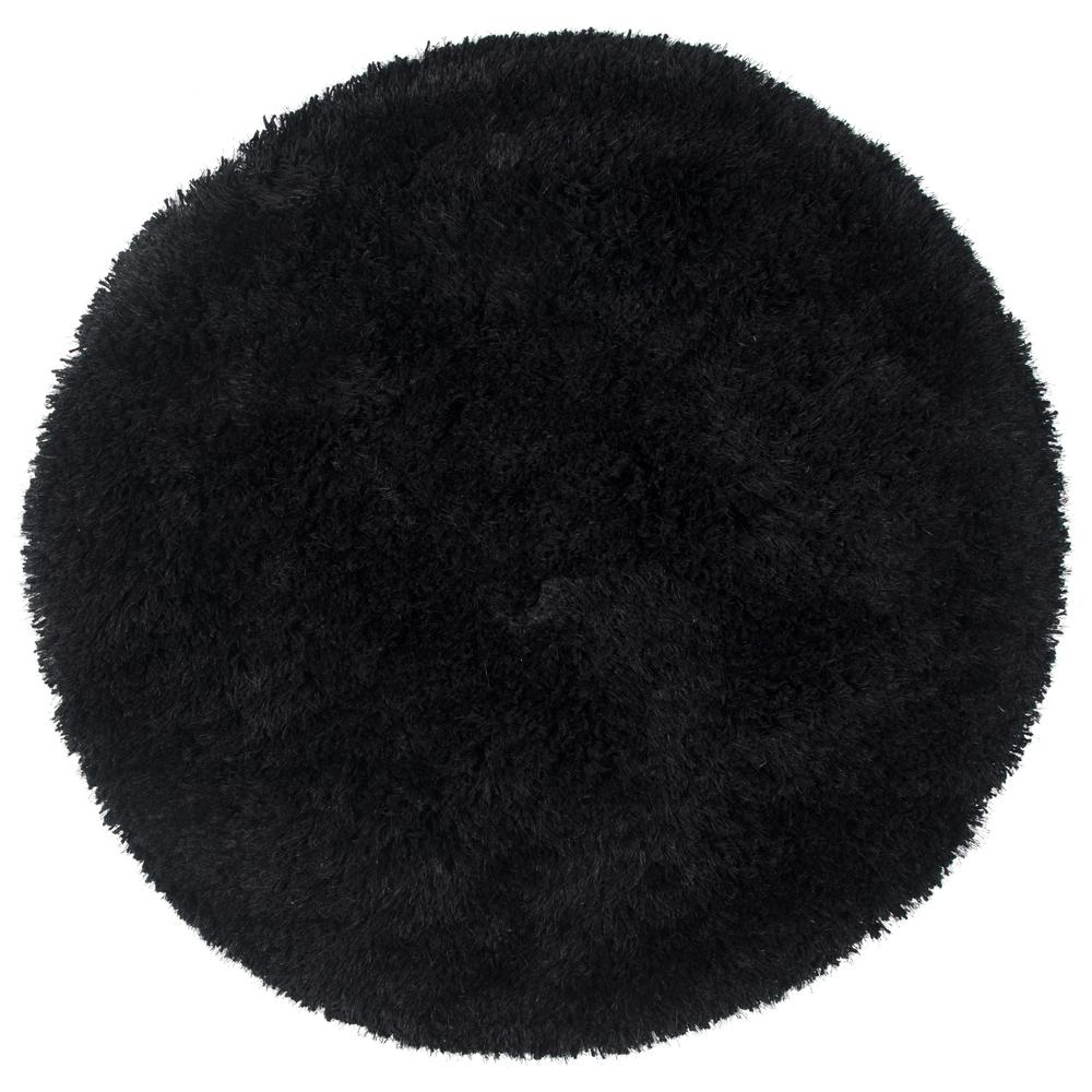 Commons Black Polyester Shag 3 ft. x 3 ft. Round Area