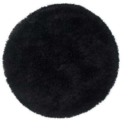 Commons Black Polyester Shag 3 ft. x 3 ft. Round Area Rug