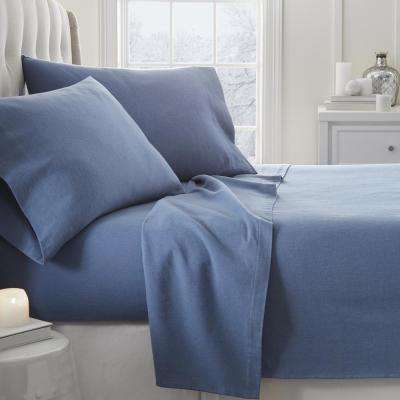 Solid Flannel Light Navy King 4-Piece Bed Sheet Set