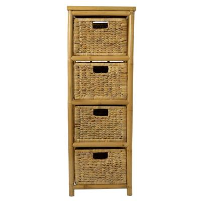 Shelly Assembled 15.25 in. x 15.25 in. x 14.25 in. Natural Bamboo Open Sided Accent Storage Cabinet with 4 Baskets