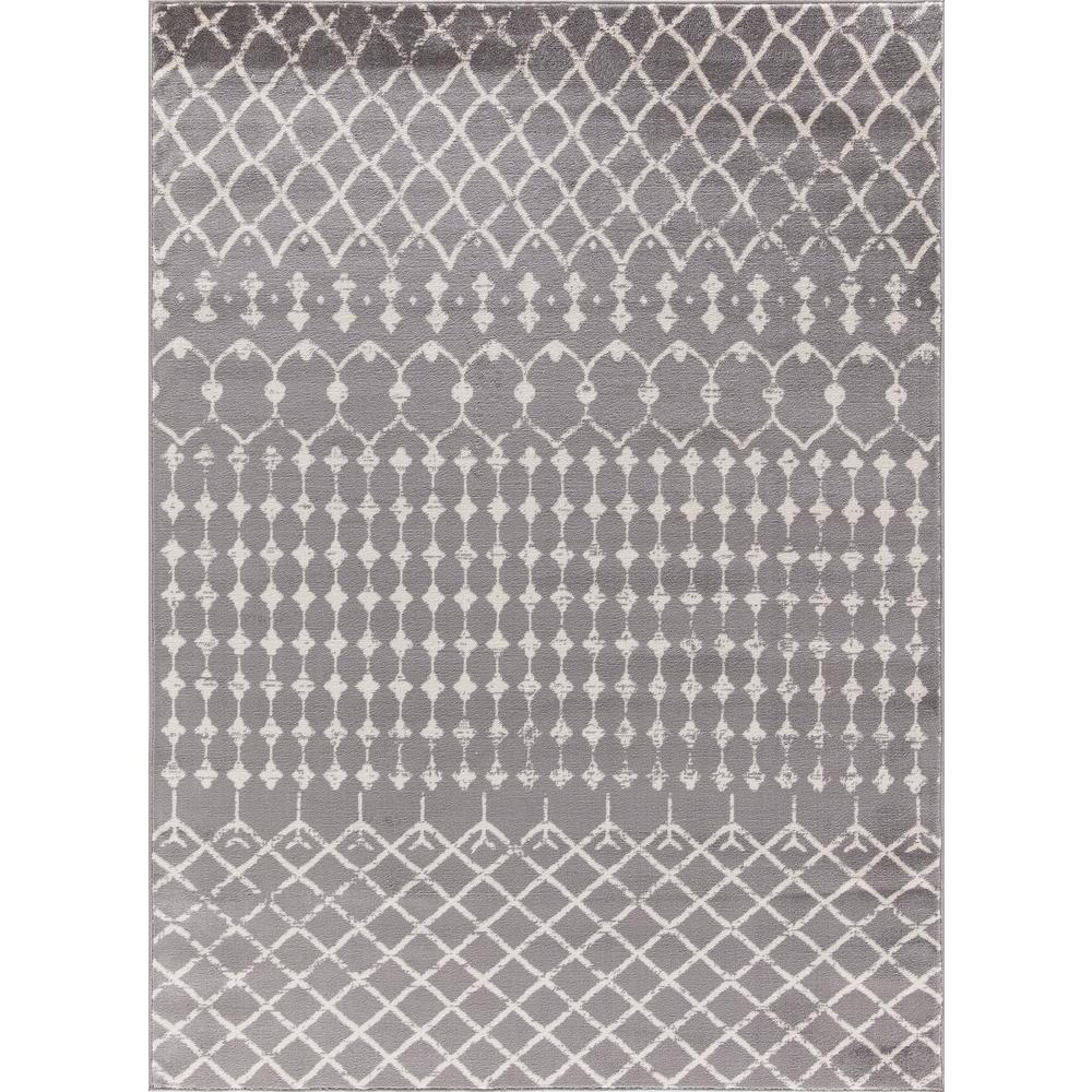 Jasmin Collection Moroccan Trellis Design Gray and Ivory 6 ft. 7