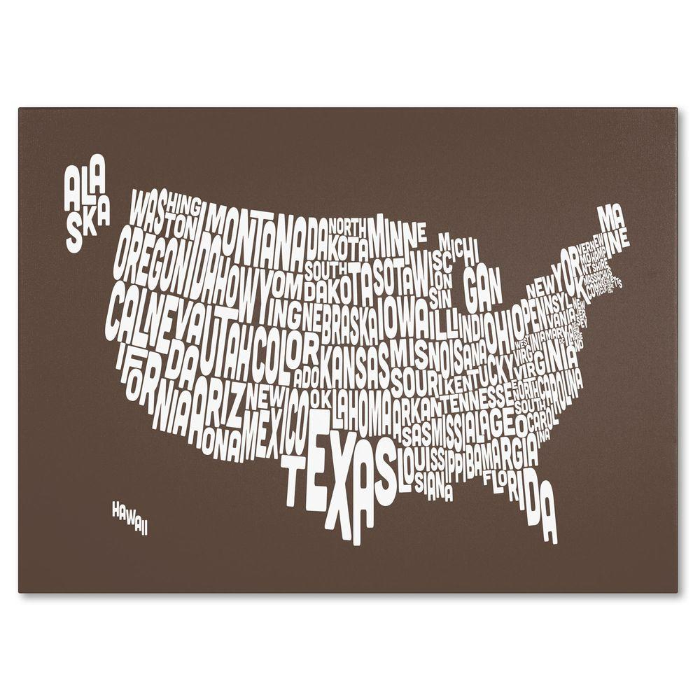 Trademark Fine Art 14 in. x 19 in. USA States Text Map - Coffee Canvas Art