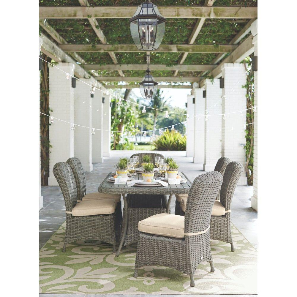 Martha Stewart Living Lake Adela Weathered Grey 7 Piece Patio Dining Set  With Sand Cushions 1928810270   The Home Depot