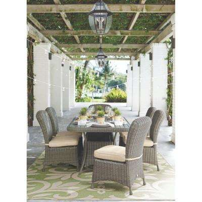 Lake Adela Weathered Grey 7 Piece Patio Dining Set With Sand Cushions