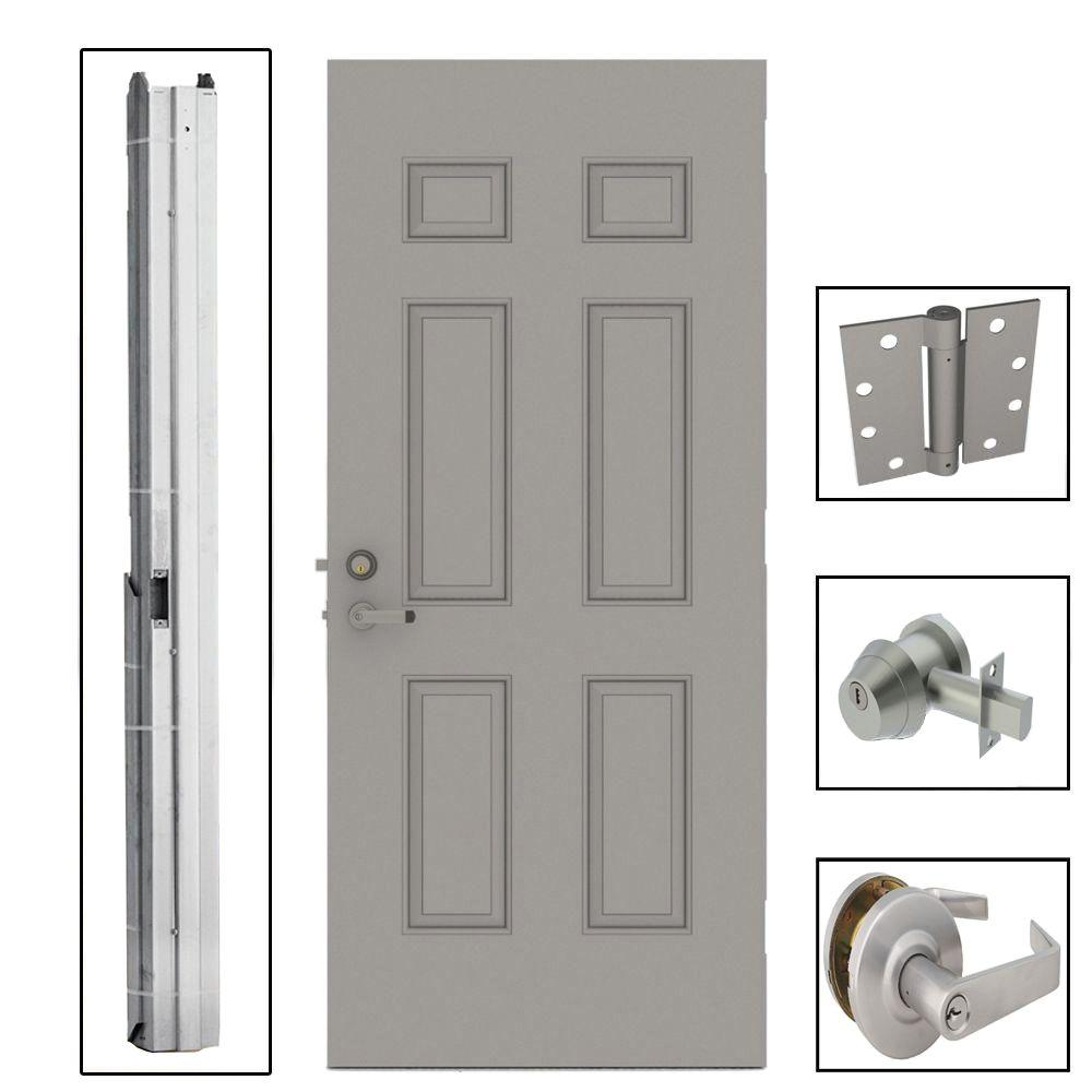 36 in. x 84 in. 6-Panel Steel Gray Security Commercial Door