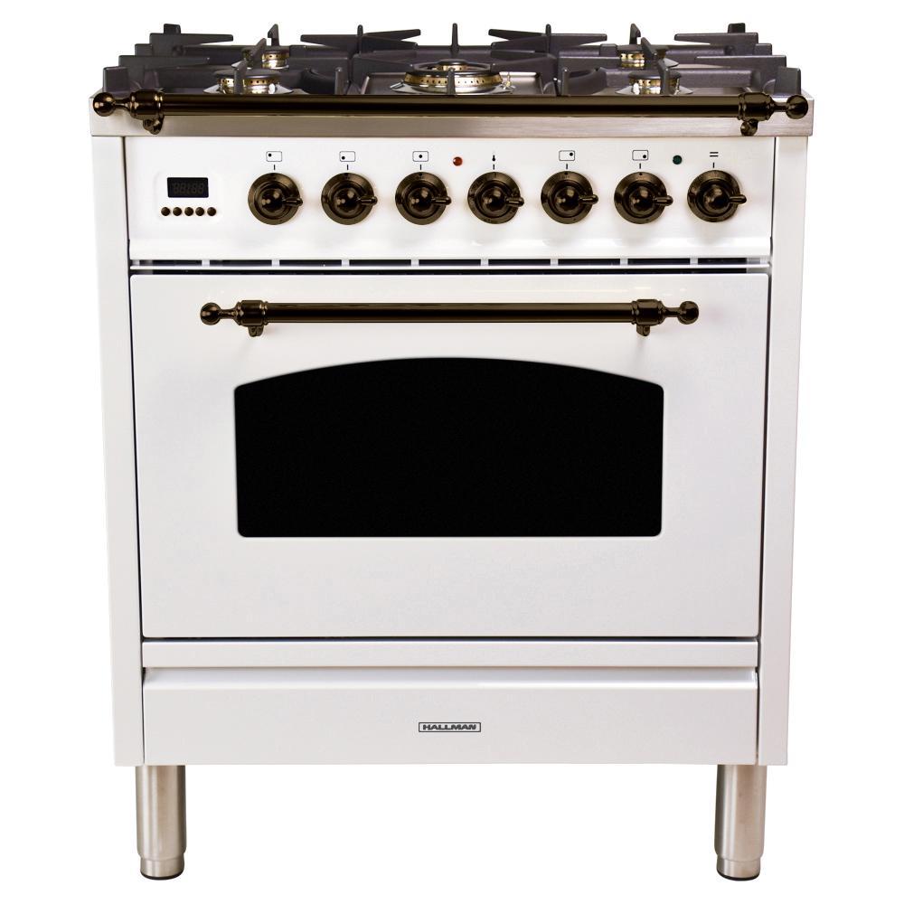 Hallman 30 in. 3.0 cu. ft. Single Oven Dual Fuel Italian Range with True Convection, 5 Burners, Bronze Trim in White
