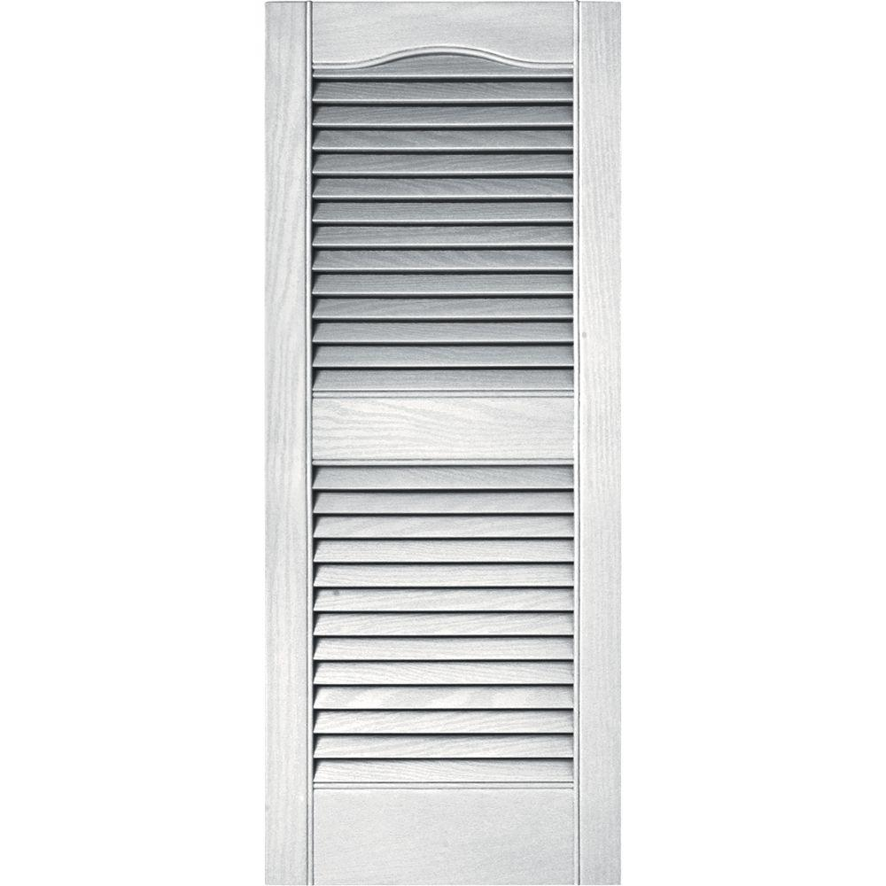 Louvered Vinyl Exterior Shutters Pair Appearance Wood Shutters 117 Bright White Ebay