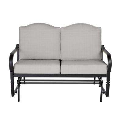 Laurel Oaks Dark Brown Steel Outdoor Patio Glider with CushionGuard Stone Gray Cushions