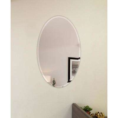 22 in. x 30 in. Oval Beveled Polish Frameless Wall Mirror with Hooks