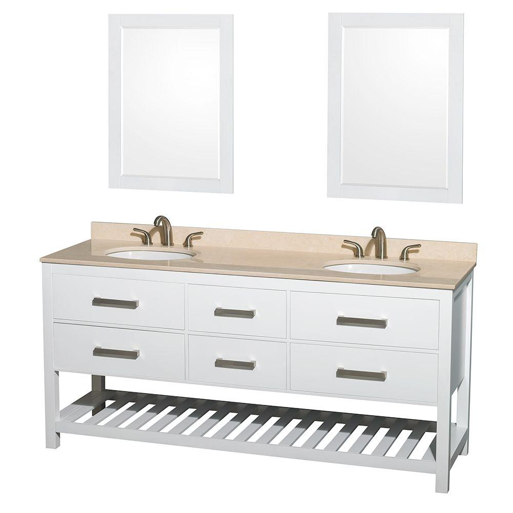 Wyndham Collection Natalie 72 in. Double Vanity in White with Marble Vanity Top in Ivory, Under-Mount Oval Sinks and 24 in. Mirrors