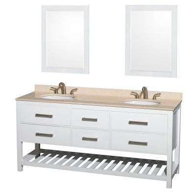 Natalie 72 in. Double Vanity in White with Marble Vanity Top in Ivory, Under-Mount Oval Sinks and 24 in. Mirrors