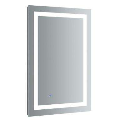 Santo 24 in. W x 36 in. H Frameless Single Bathroom Mirror with LED Lighting and Mirror Defogger