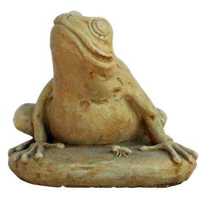 Cast Stone Frog with Bug Garden Statue Weathered Bronze