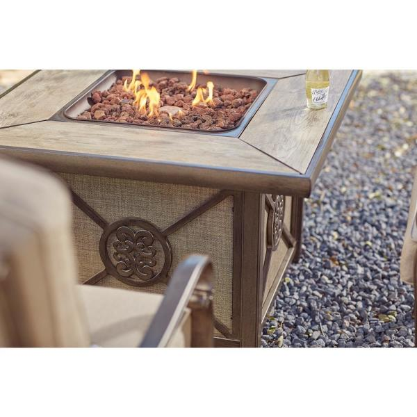 Home Decorators Collection Home Decorators Collection Wilshire Estates 1 Piece Aluminum Tile Top Outdoor Gas Firepit With Sunbrella Sling Fabric Arx04600k01 The Home Depot