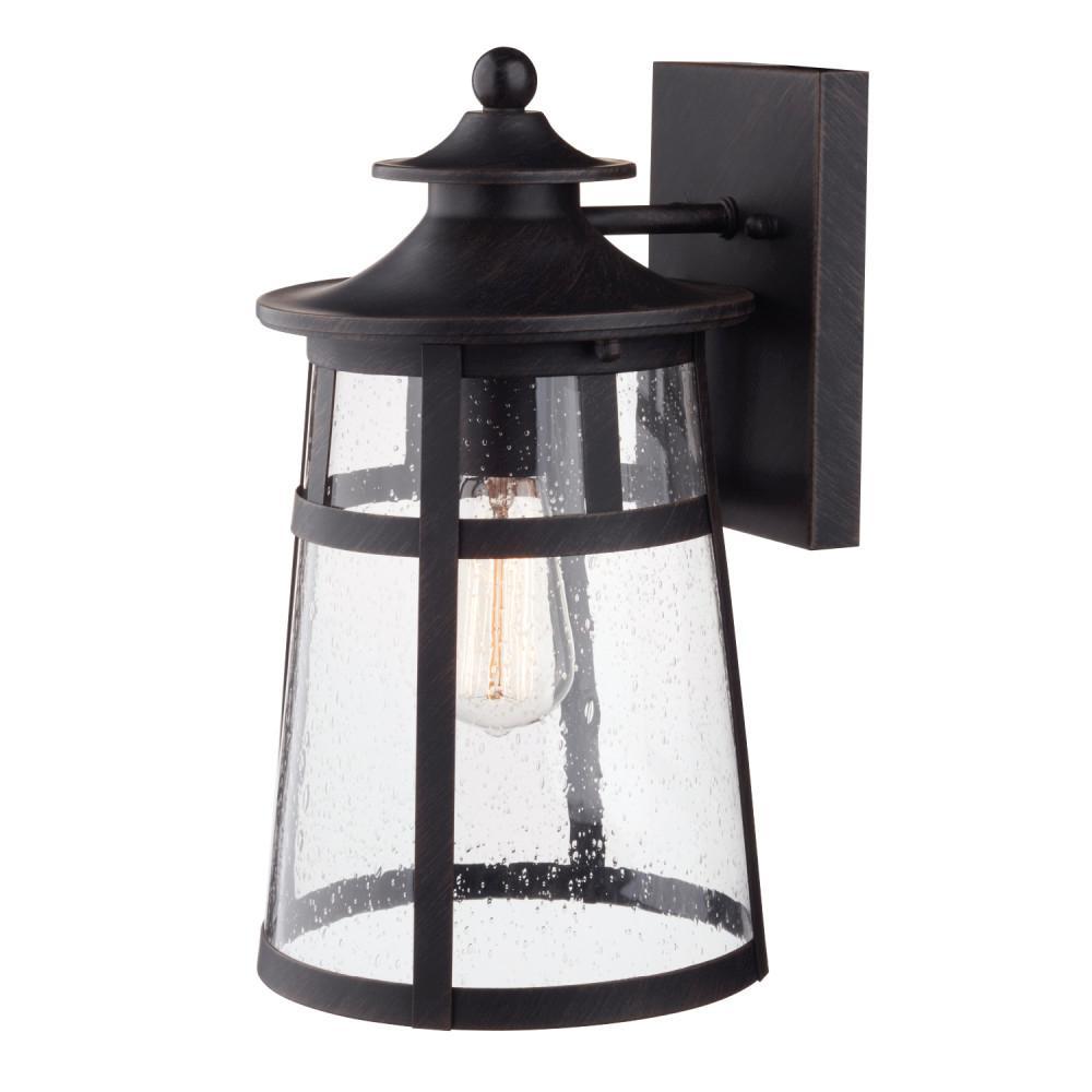 Globe Electric Ezekiel 1 Light Bronze Outdoor Wall Lantern Sconce