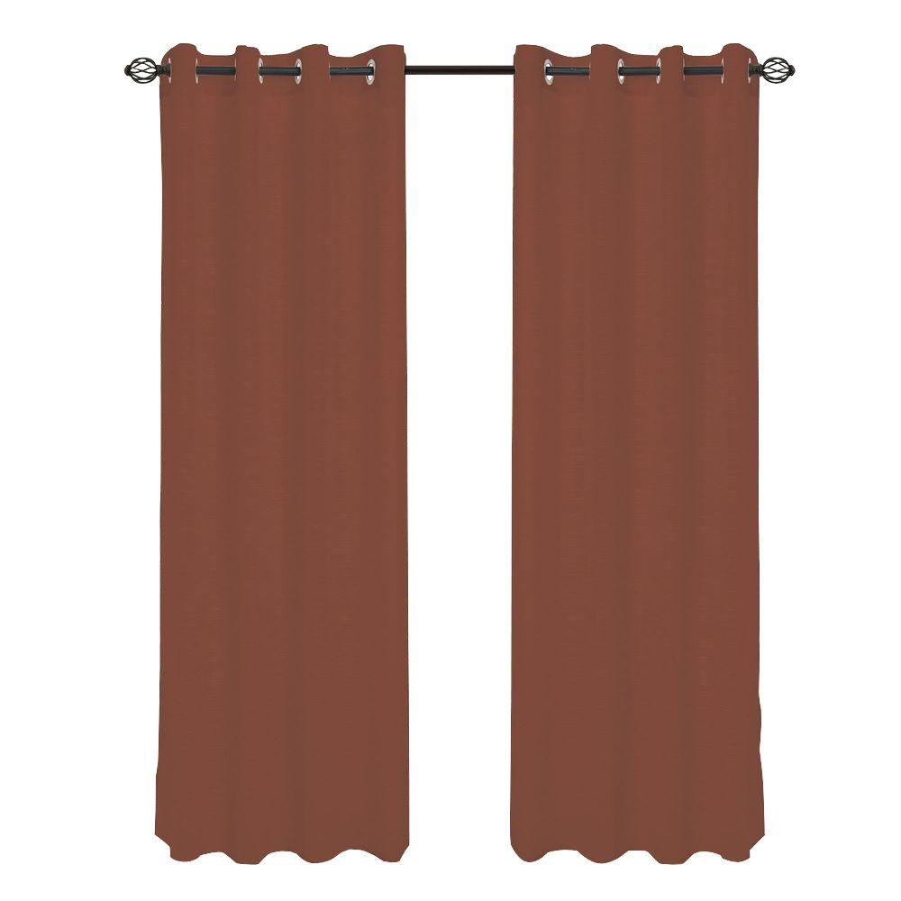 Brown Mia Jacquard Grommet Curtain Panel, 108 in. Length