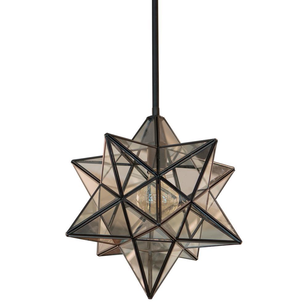 1-Light Black Star Pendant