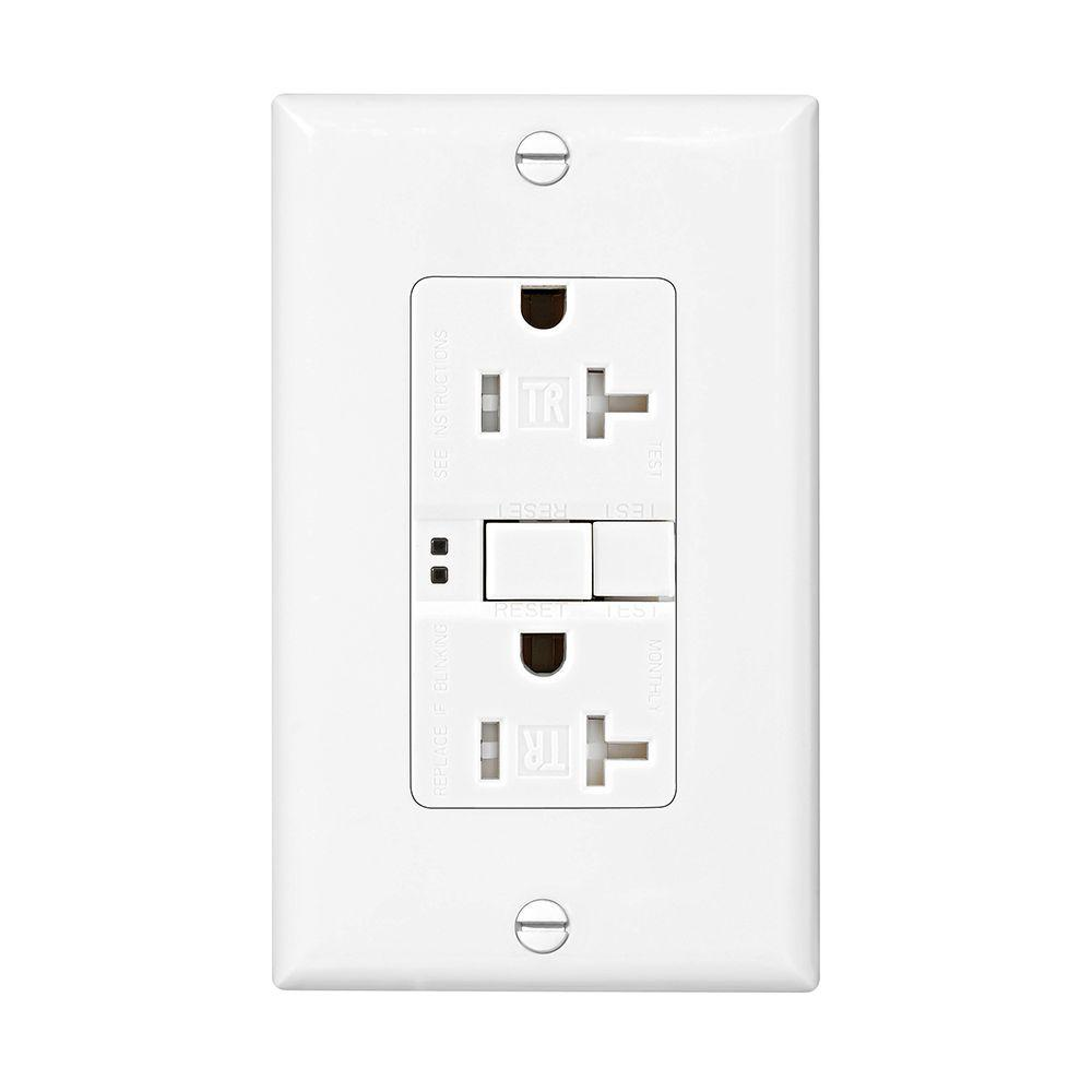 Eaton GFCI Self-Test 20A -125V Tamper Resistant Duplex Receptacle with Standard Size Wallplate, White