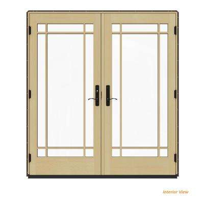72 in. x 80 in. W-4500 Contemporary Brown Clad Wood Right-Hand 9 Lite French Patio Door w/Lacquered Interior