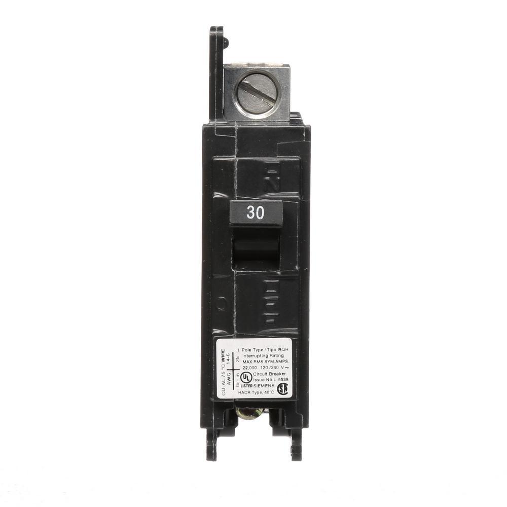 Siemens 30 amp single pole type qp circuit breaker q130 the home depot 30 amp 1 pole bqh 22 ka lug inlug out circuit greentooth Choice Image