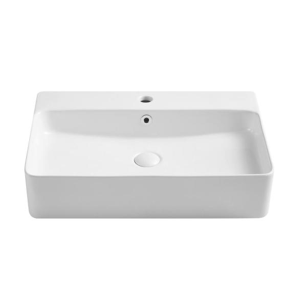 Vanityfus 23 62 In X 16 54 In White Art Ceramic Rectangular Wall Mounted Vessel Sink Above Counter Vf Mh Bs067 171 The Home Depot
